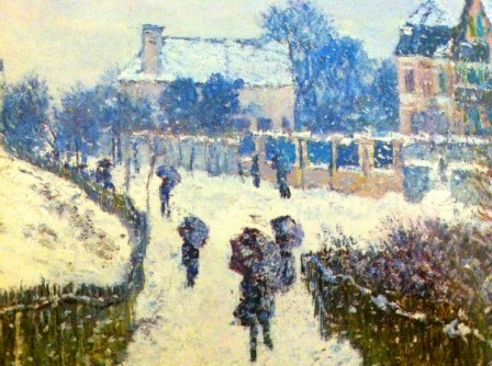 (Painting of people walking in the snow by Monet)