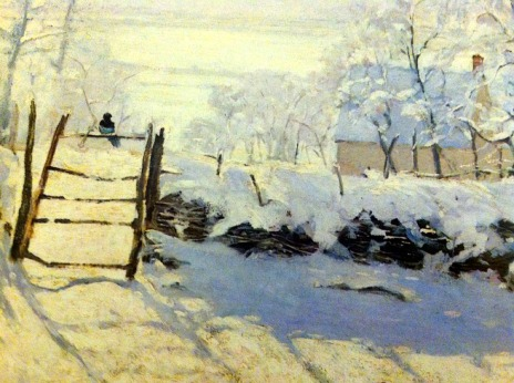 (Painting of a snow scene by Monet)