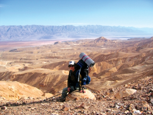 Sitting on a bulbus rock above Arava Valley